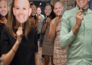 Rakuten Marketing Sydney team wearing face masks to look like Anthony Capano