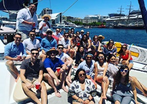 Rakuten Marketing Sydney and Melbourne team pictured on a boat in Sydney Harbour
