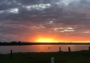 Sunsetting over a lake in southern NSW