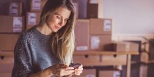 Female consumer shopping via mobile